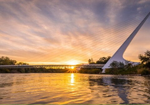 Sunset in Redding at the Sundial Bridge